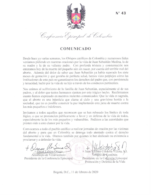 Ante caso de Juan Sebastián: Iglesia clama por la defensa de la vida