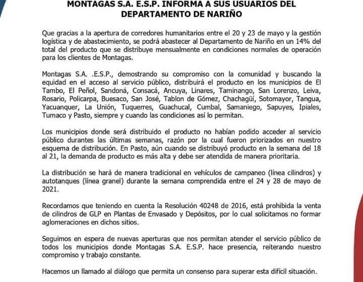 Montagas emitio un comunicado para distribuir el combustible en Nariño
